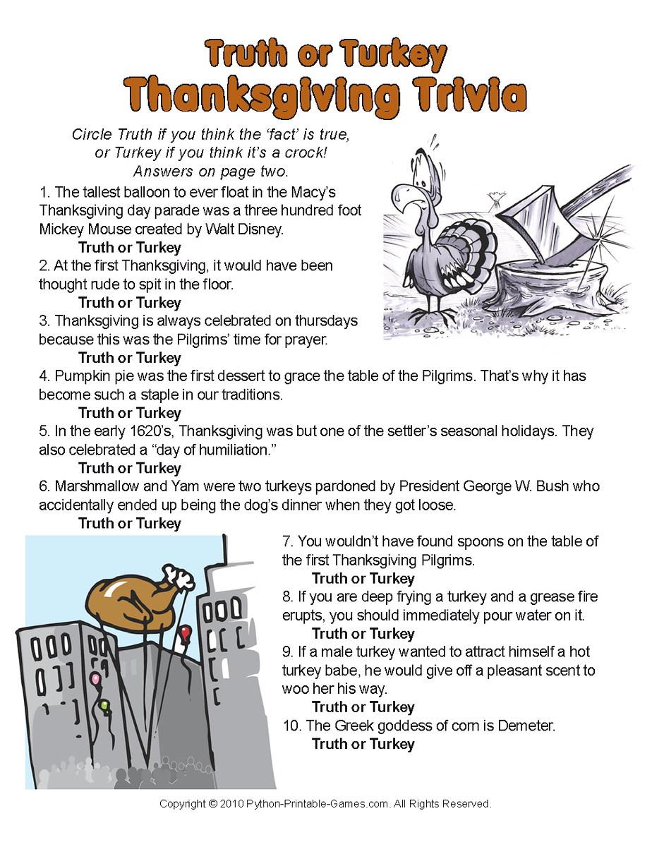 A little trivia for Thanksgiving! Thanksgiving facts