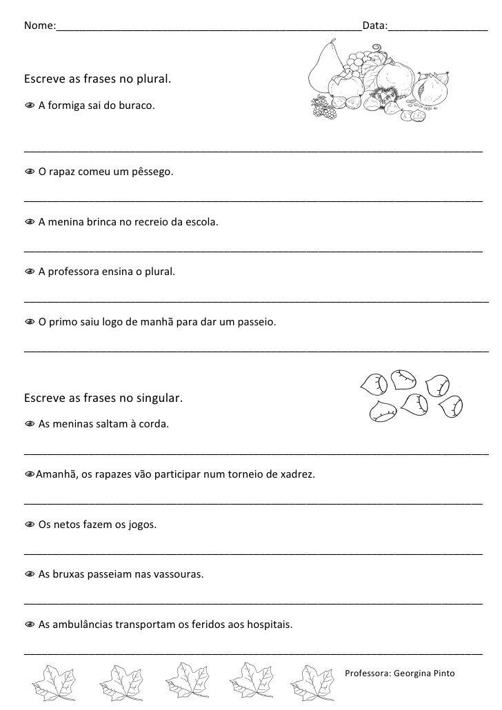 Ficha De Plural E Singular Com Imagens Atividades Atividades