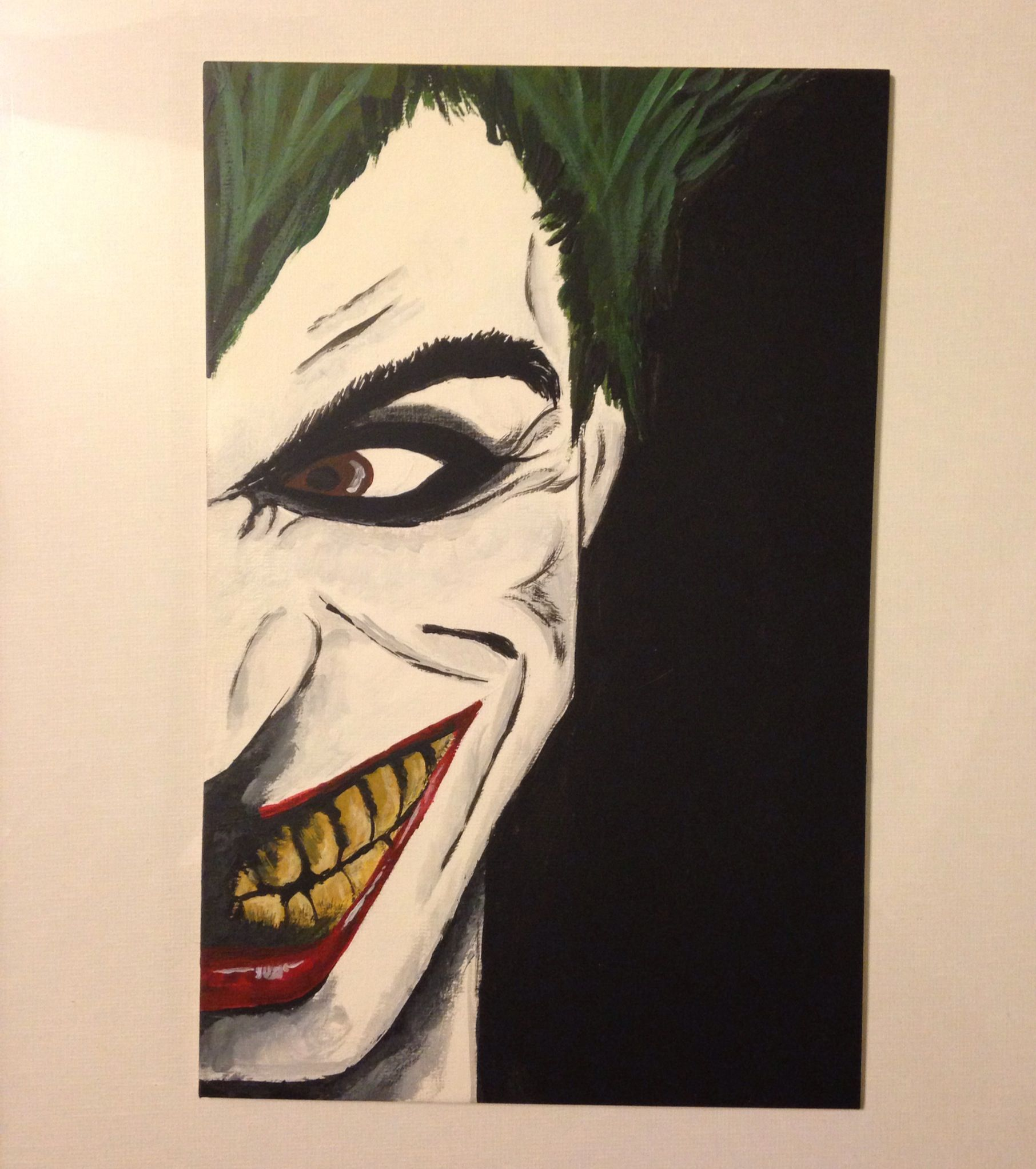 56a59c400 The Joker - I Free hand sketched, then painted with acrylic paints on a  flat canvas