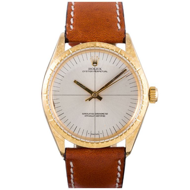 Rolex Yellow Gold Zephyr Wristwatch with Sniper Dial and Florentine Finish | From a unique collection of vintage wrist watches at https://www.1stdibs.com/jewelry/watches/wrist-watches/