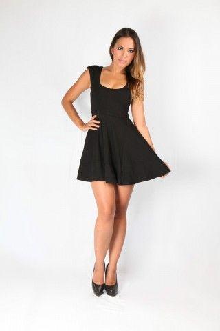 Black Capped Sleeve Retro Skater Dress Round Neck Little Black Dress Party | USTrendy