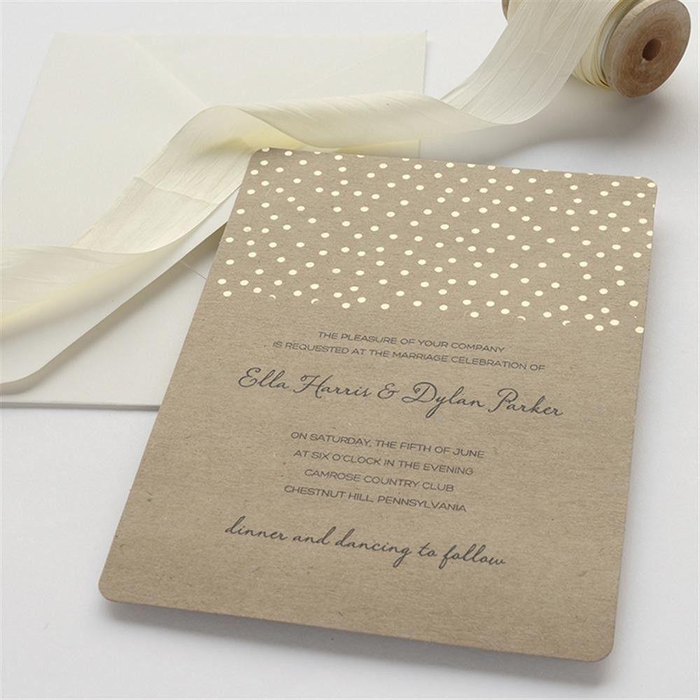 Brides Wedding Invitation Kit: BRIDES® Gold Foil Dot On Kraft Wedding Invitation Kit