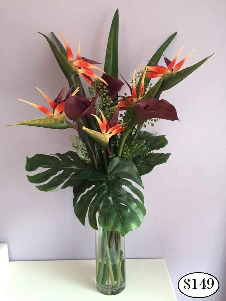 Calla Lily Birds Of Paradise Real Touch Flower Arrangements Look And Feel Re Tropical Flower Arrangements Purple Flower Arrangements Birds Of Paradise Flower