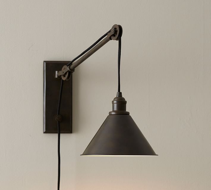 Lighting - The Pulley System In This Industrial-style Sconce Raises And