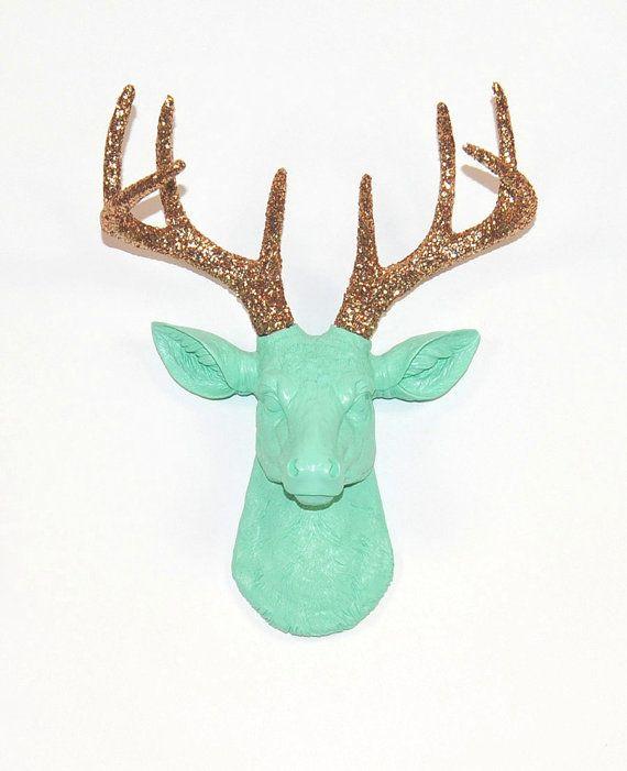 Deer Head Wall Art faux deer head - the mini arnie - seafoam green w/ gold glitter