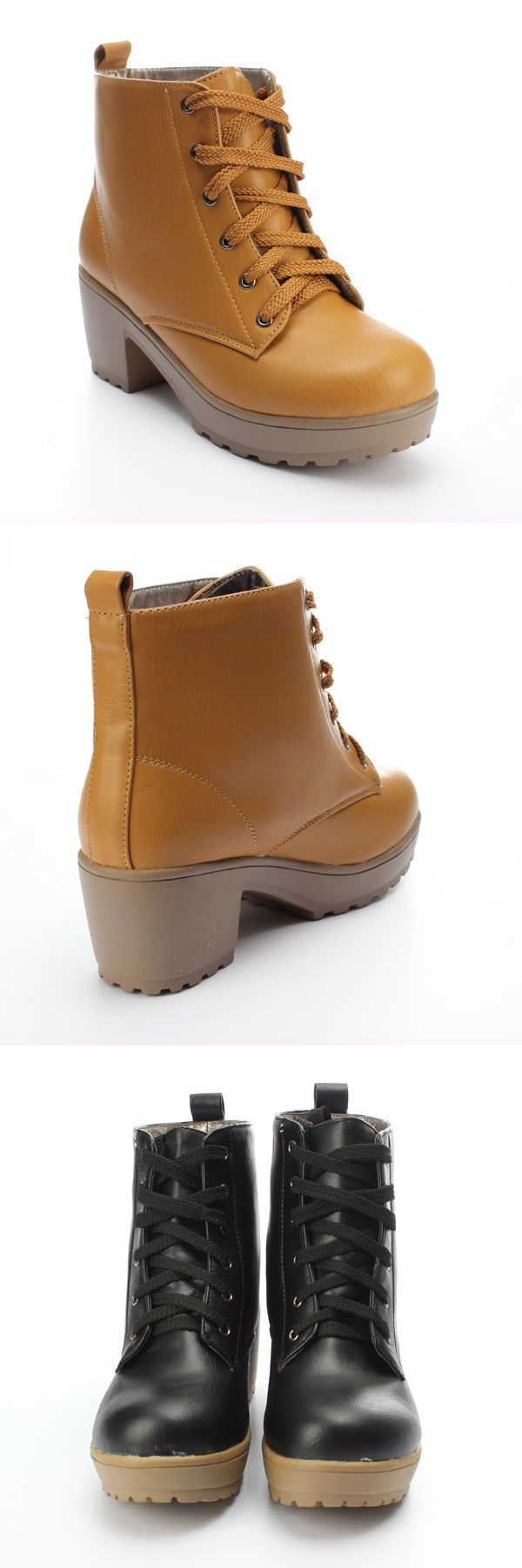 R Bootstrap Women 8217 S Winter Round Toe Boots Lace Up Platform Shoes