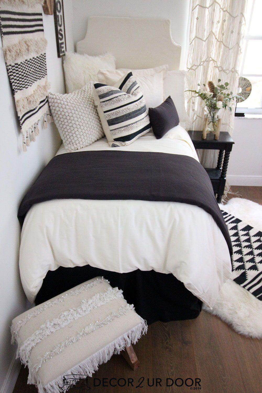 Black & Ivory Tassel Dorm Bedding Set #collegedormroomideas