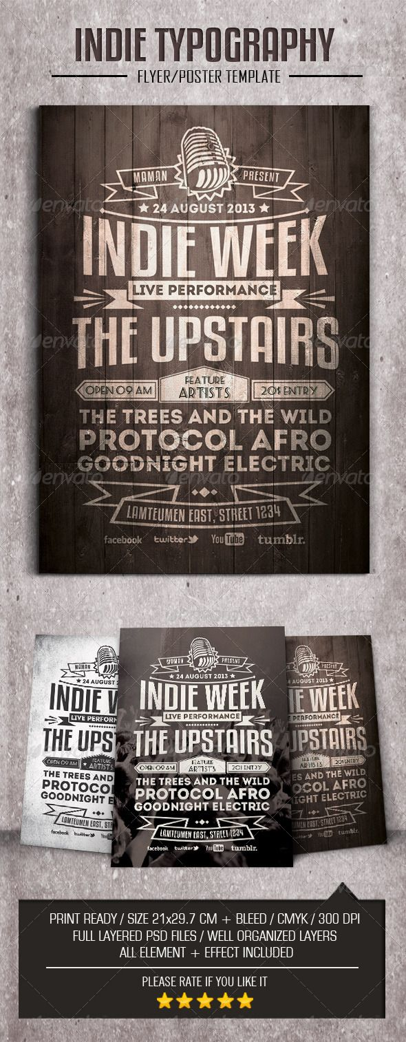 Indie Typography FlyerPoster  Rock Houses Dubstep And Indie
