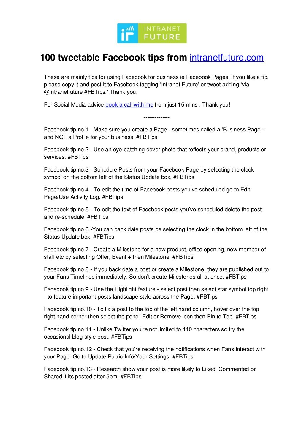 100 Facebook Tips By Intranet Future Via Slideshare For More Tips