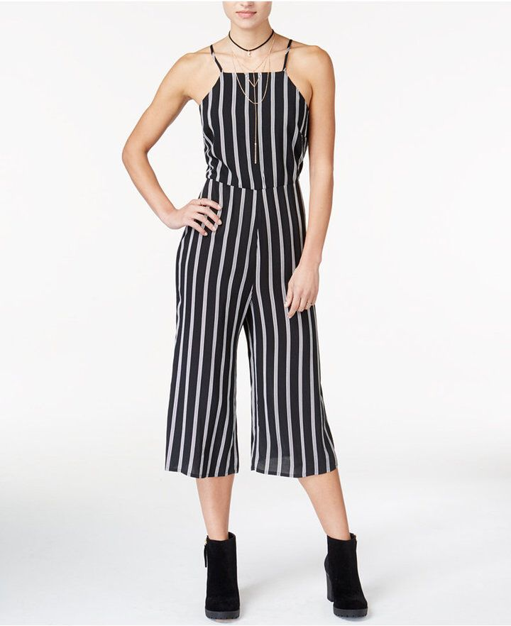 Material Girl Juniors\' Striped Gaucho Jumpsuit, Created for Macy\'s ...