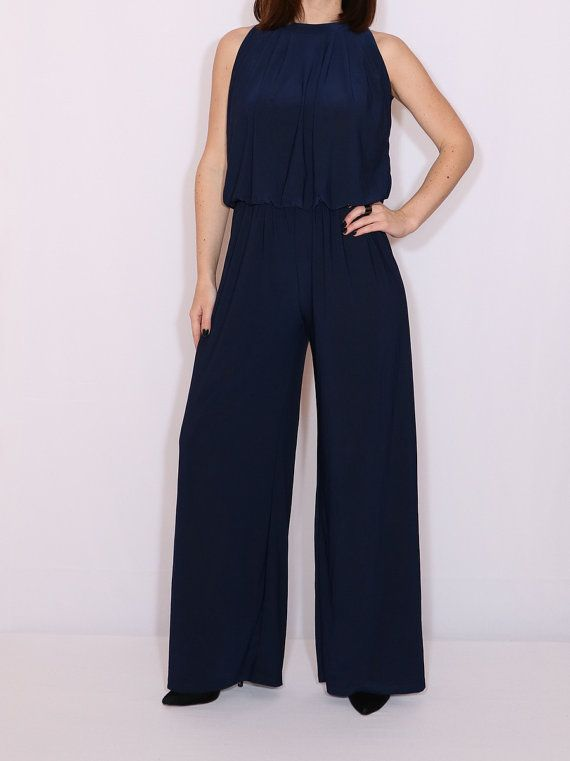 New Elegant Midnight Blue Softly Draping Sleeveless Jumpsuit Trousers Playsuit