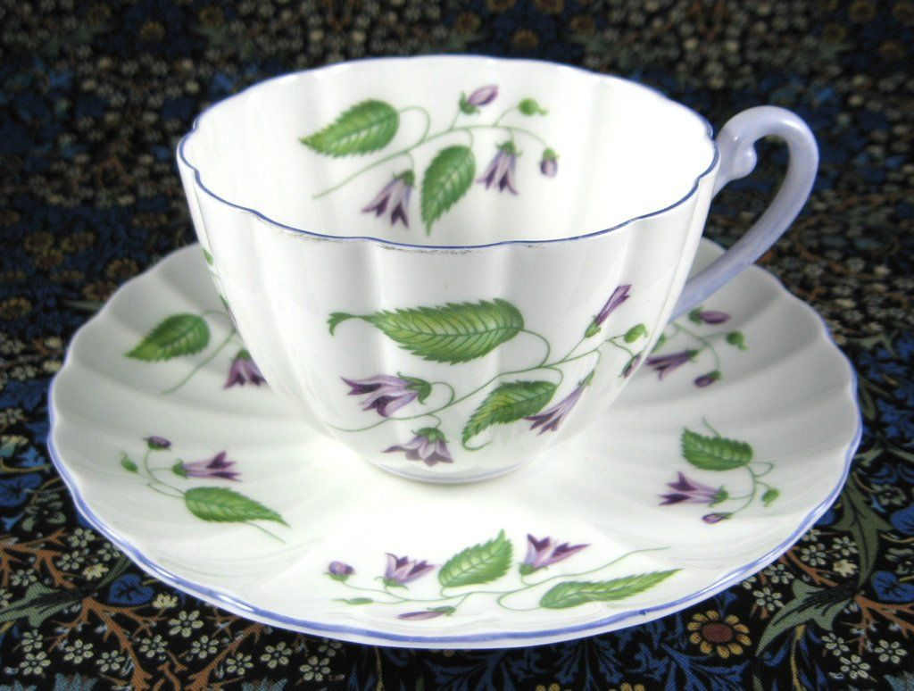 Shelley Ludlow Campanula Cup and Saucer England Vintage Lavender Trim
