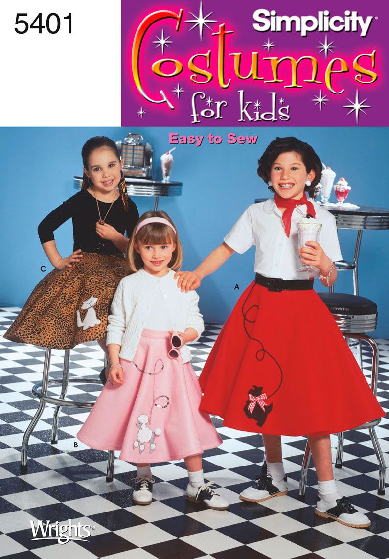 Childs Poodle Skirt Costume Pattern By Simplicity Easy To Sew 5401
