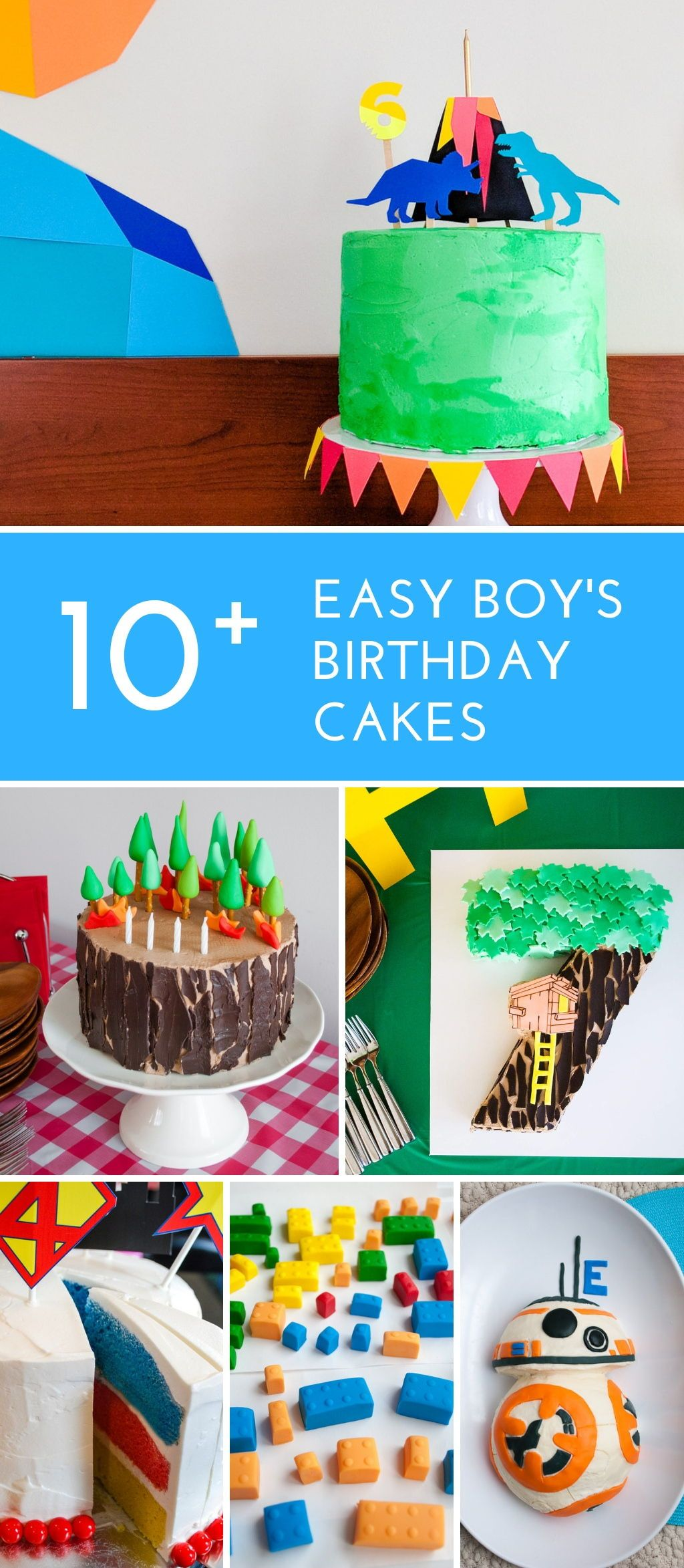 Easy Boys Birthday Cakes See These Simple DIY Boy Cake Ideas For Beginner Decorators Includes Age Dinosaur LEGO