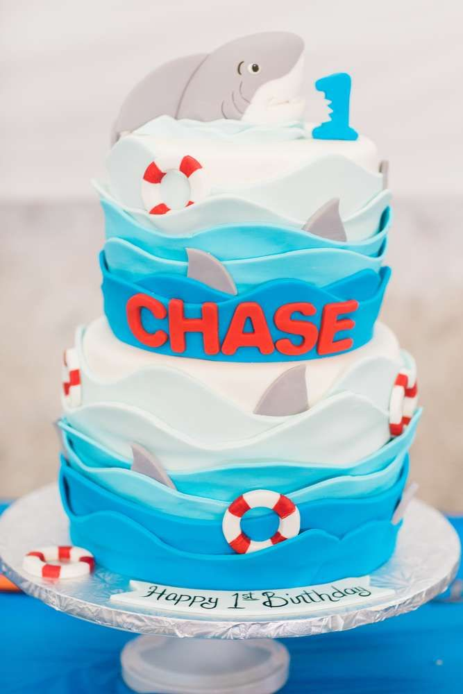 Amazing Cake At A Shark Birthday Party See More Party