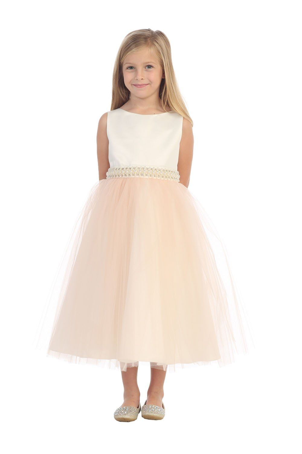 c53c75a79ac8 Champagne Sleeveless Satin Top Flower Girl Dress with Tulle Overlay Skirt