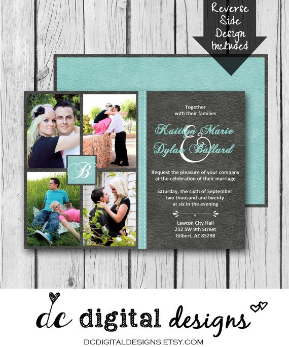 any color digital wedding invitation picture collage printed