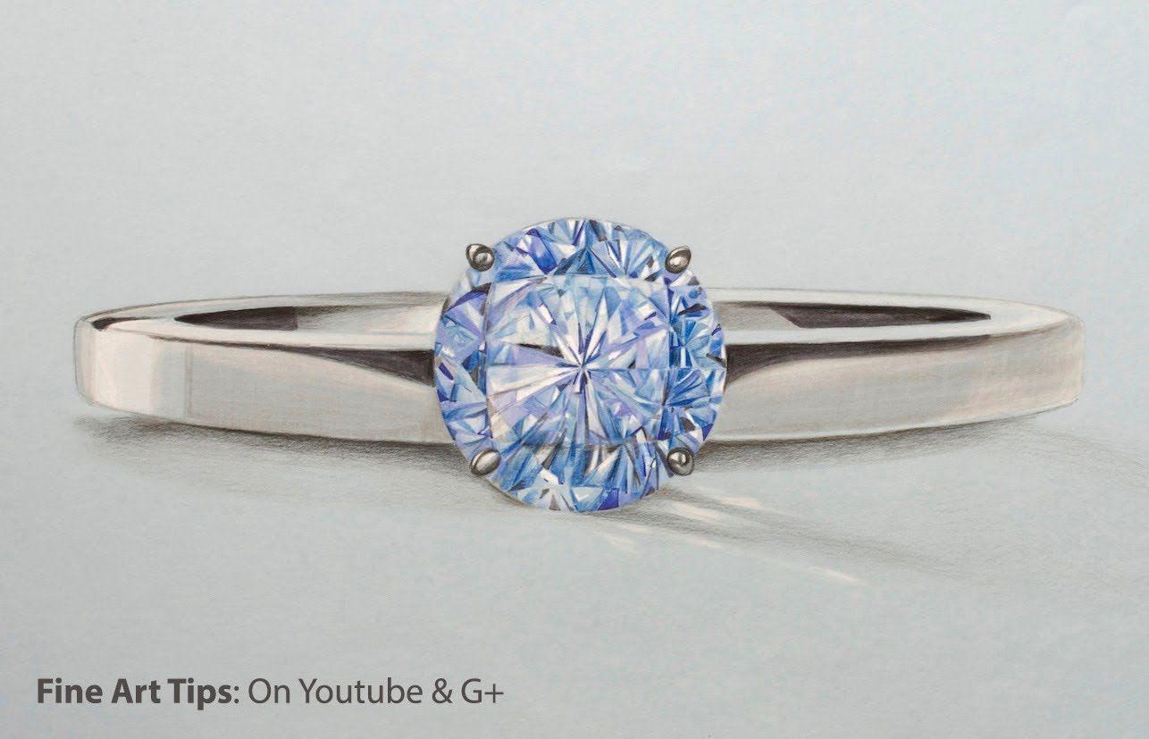 How To Draw A Blue Diamond Ring Wie Man Einen Blauen Diamant Ring