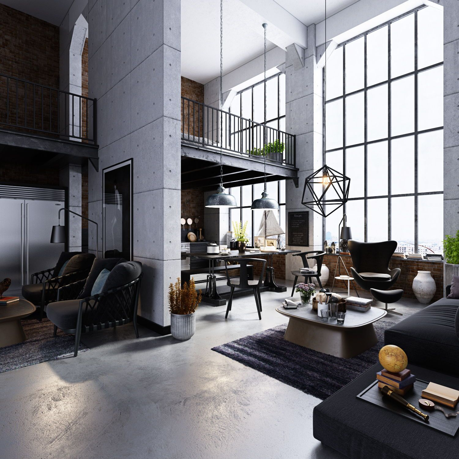 Beautiful Modern Loft With Concrete Floors Steel Windows Iron Railings And All Of The Makings Of An I Industrial Style Living Room Loft Design Loft Interiors