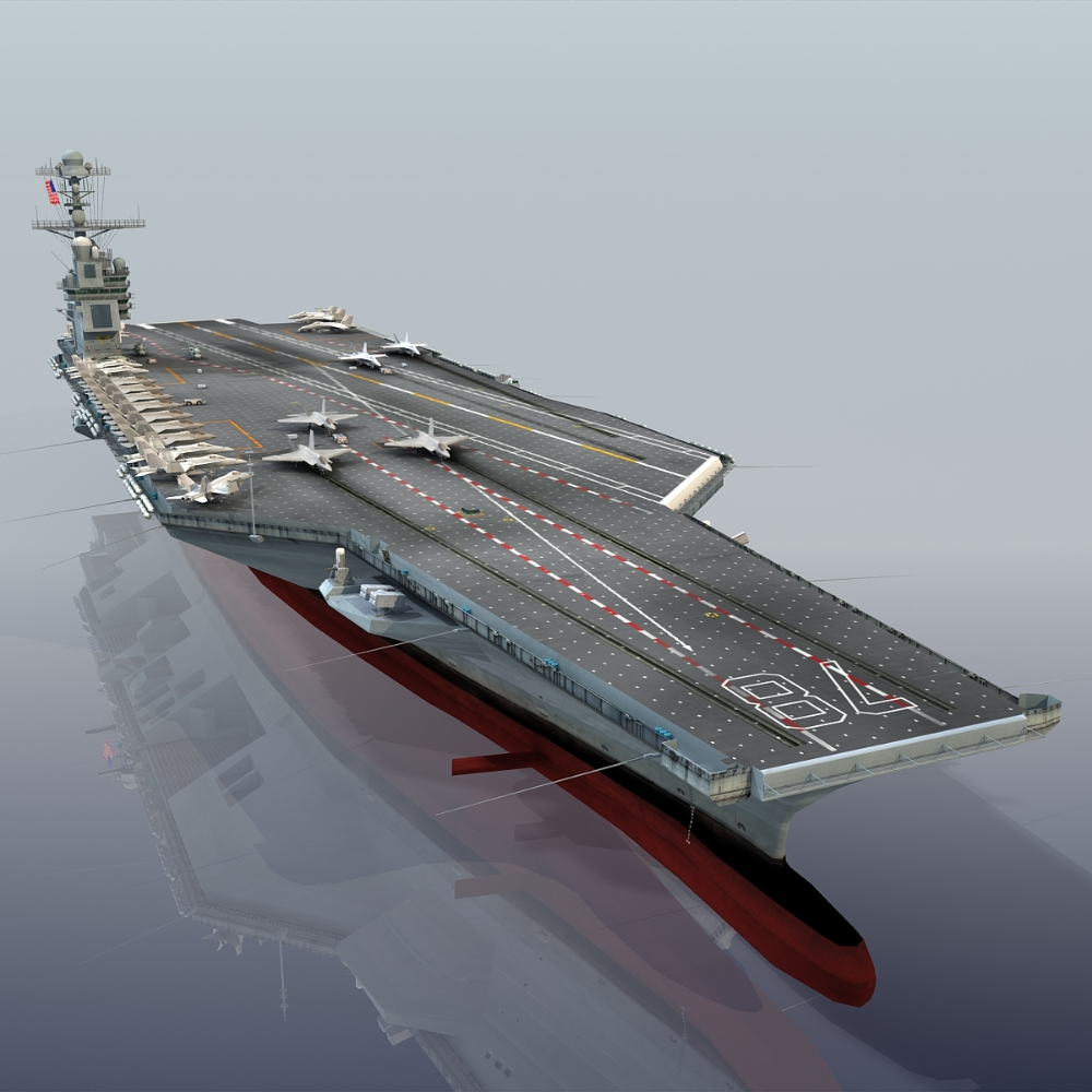 3d Model Uss Gerald R Aircraft Carrier Aircraft Carrier Aircraft Fighter Jets