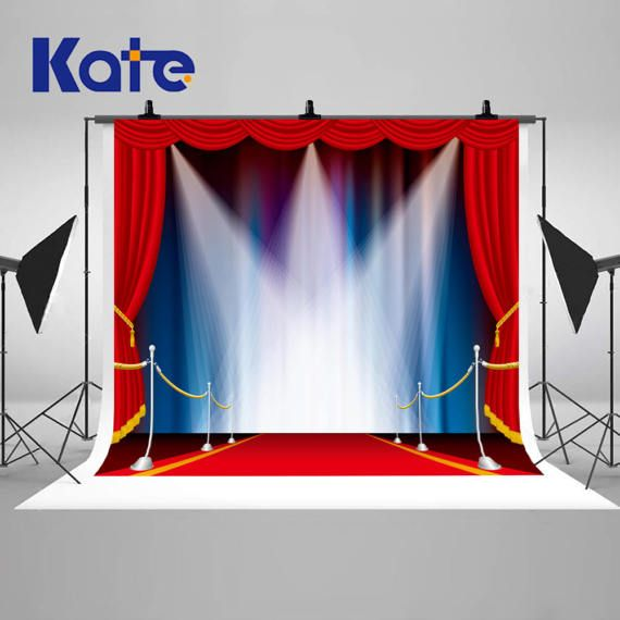 Red Carpet Light Stage Photography Backdrops Blue Photo