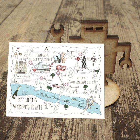 Custom map wedding invitation or info card colour accent luxury 100 custom map postcards cute wedding map were by cutemaps 35500 solutioingenieria Images