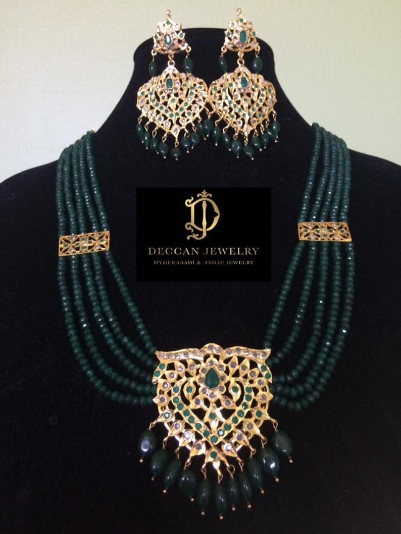 Hyderabadi Jadau Beautiful high quality 6 carat gold plated jadau set with earrings