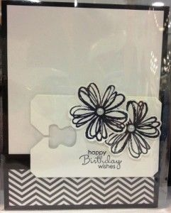 Black & white handmade card featuring the Flower Shop and Petite Pairs stamp sets from Stampin' Up!