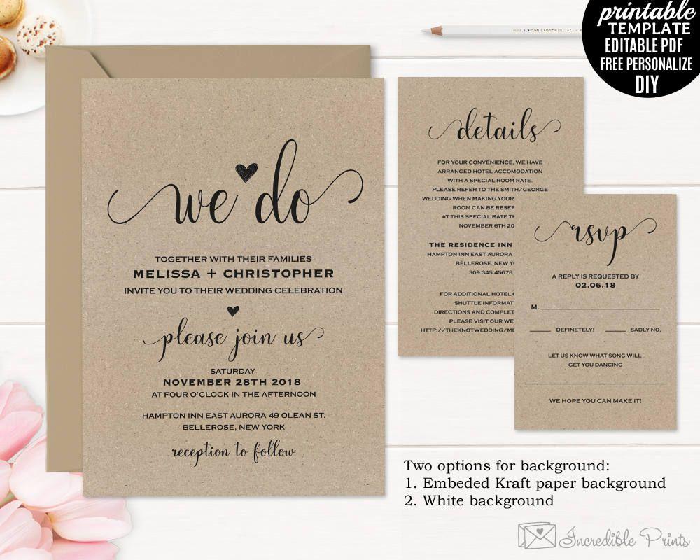 Kraft Paper Wedding Invitation Set Tempalte Printable Rustic Modern ...