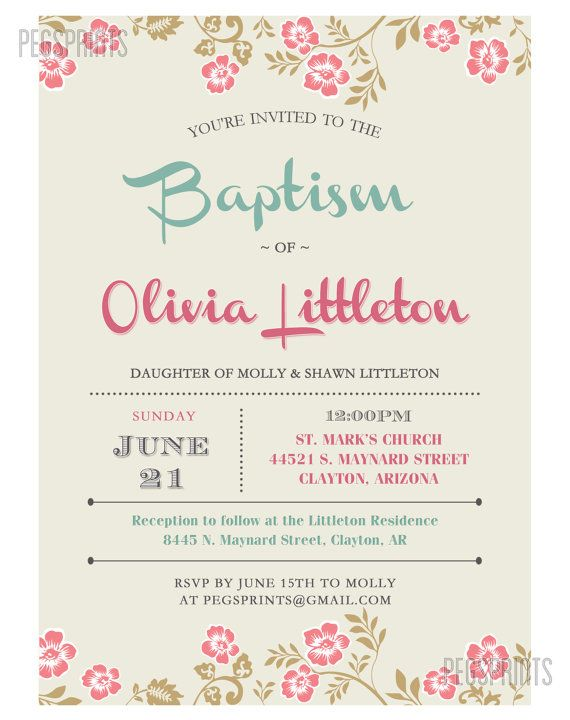 photograph relating to Printable Baptism Cards referred to as Floral Baptism Invitation // Lady Baptism Invitation