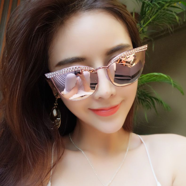 f96d752d31 Victorylip Fashion Cat Eye Mirror Sunglasses diamond Women Luxury Brand  Designer Metal Frame Sun Glasses Cateye