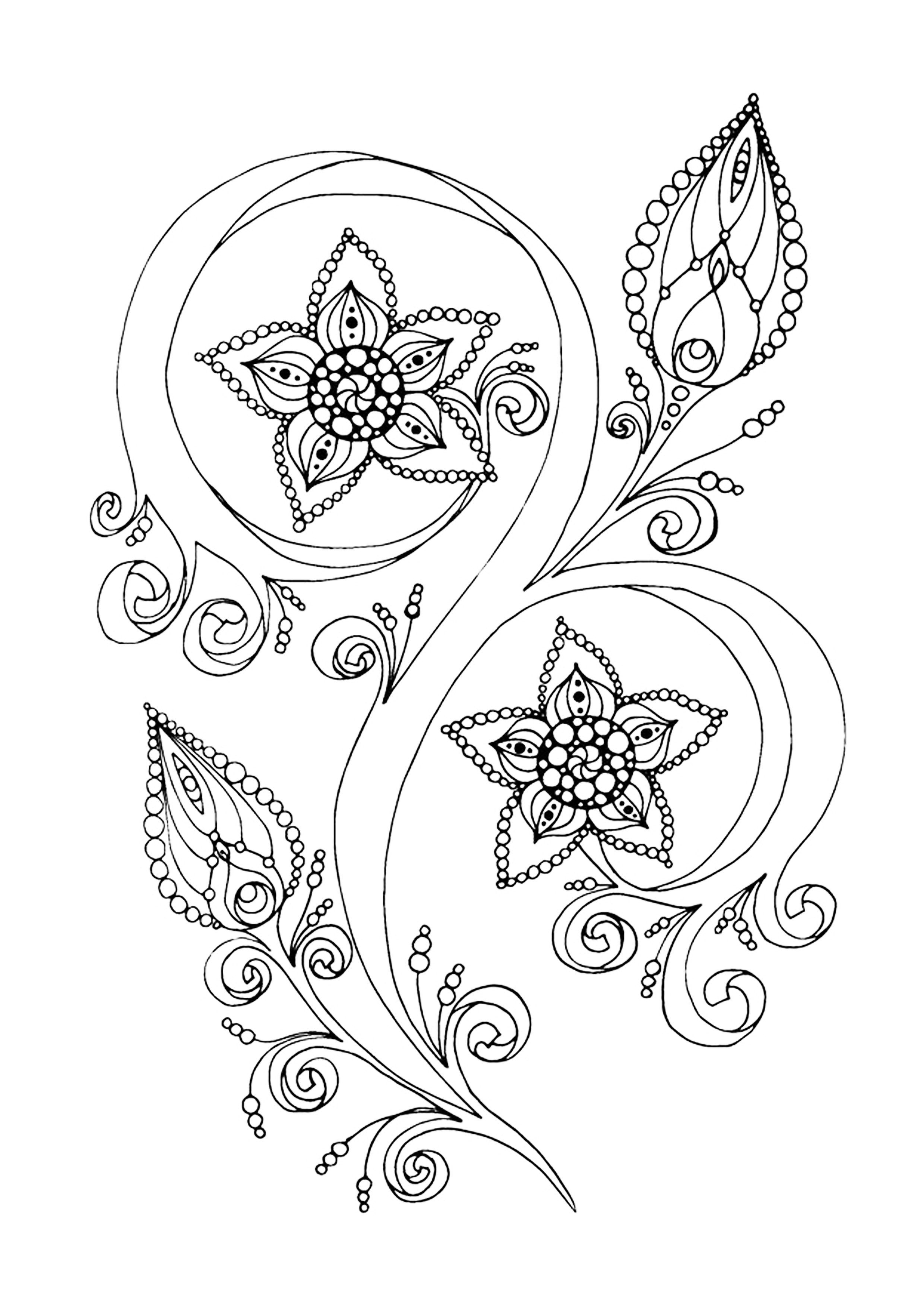 Elegante Dibujos Para Colorear De Flores Y Frutas | Colore Ar La Imagen