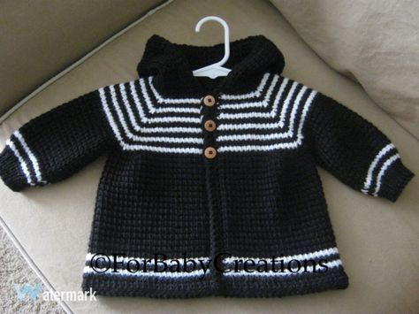 Crochet Baby Boy Sweater with Hood - Black White - MADE TO ORDER ...