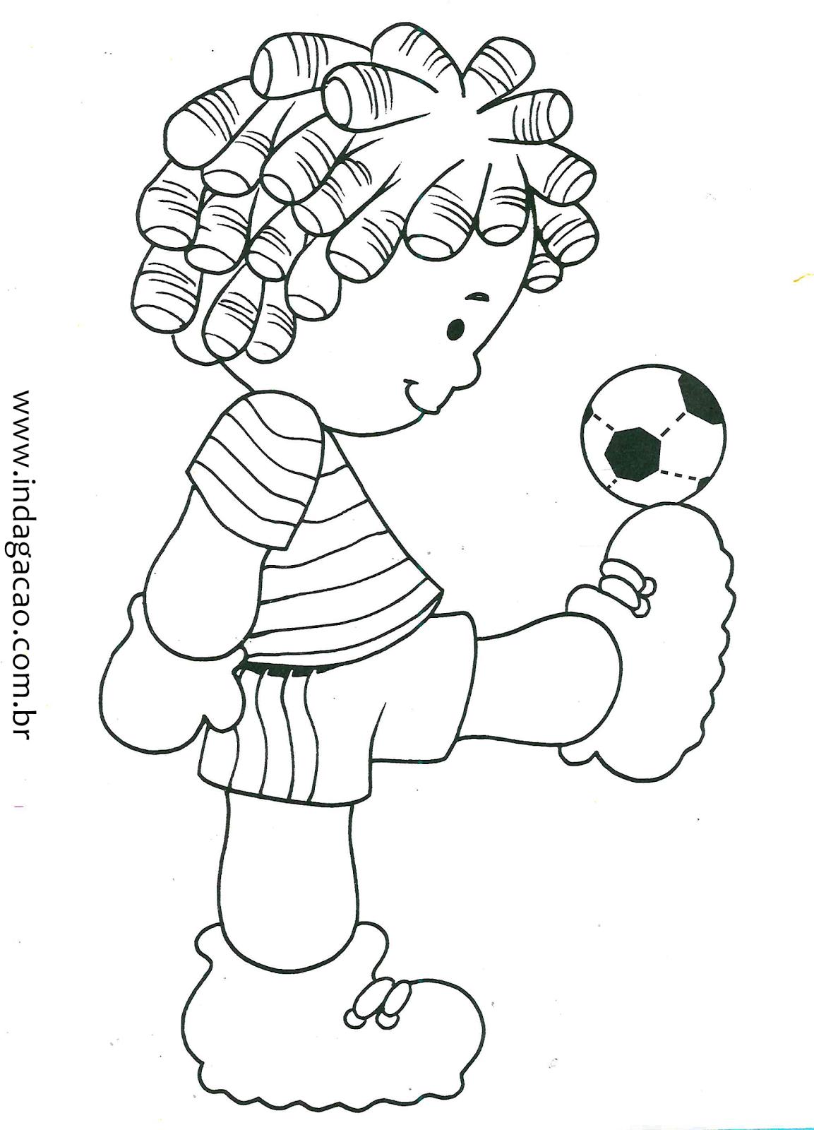 Desenho De Menino Brincando Com Bola Para Colorir Baixar