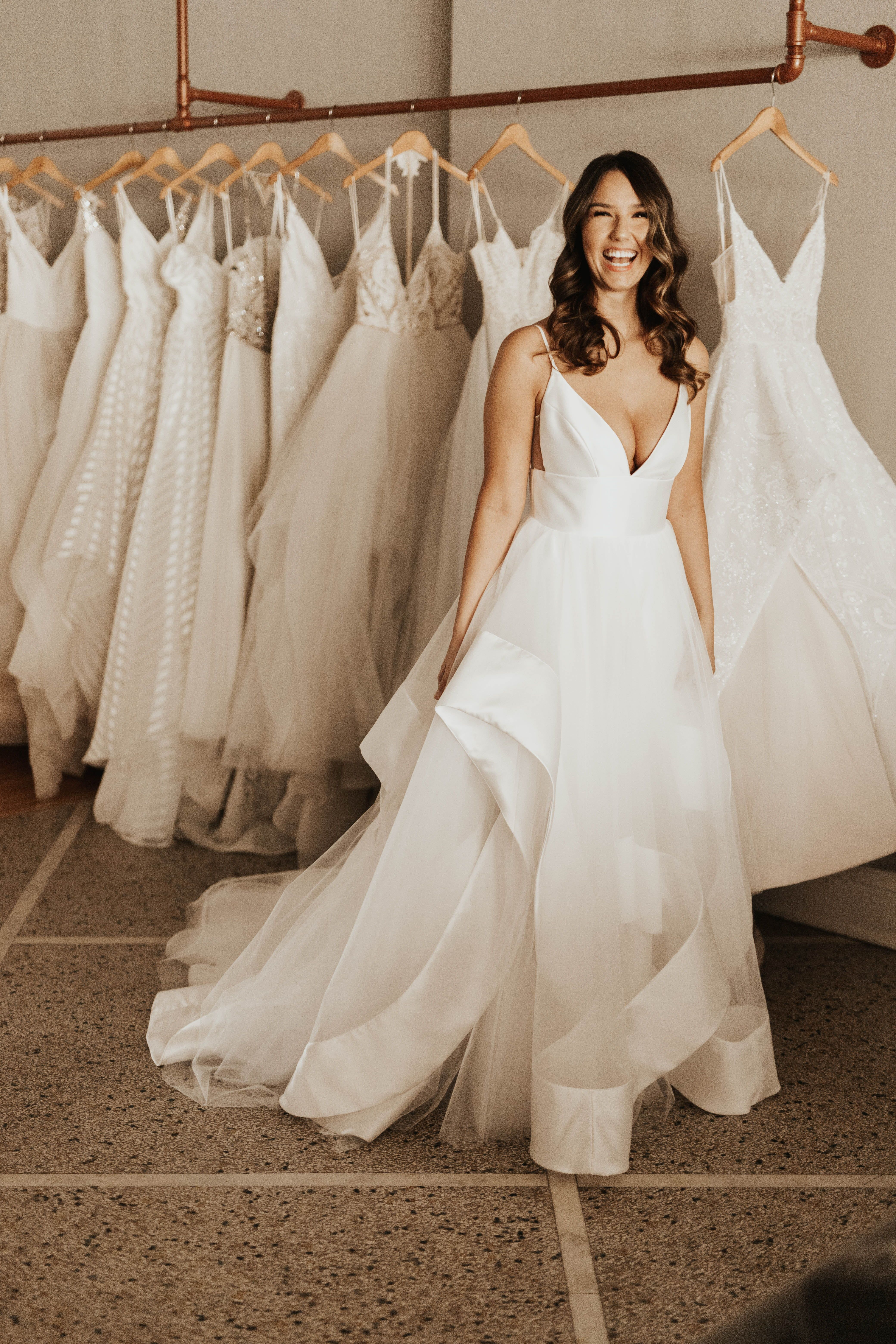 Andi By Hayley Paige Available At Minneapolis Seattle A Be Bridal Shops Simple Tull Bride Dress Simple Wedding Dresses Whimsical Wedding Dresses Romantic