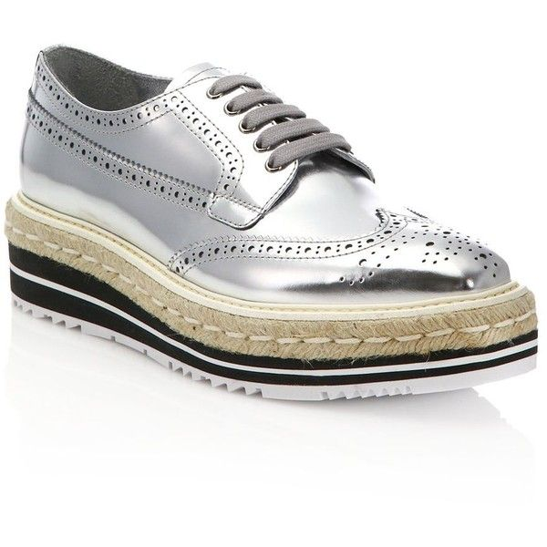 Prada Metallic Leather Creeper Brogue Espadrilles ($995) ❤ liked on  Polyvore featuring shoes,