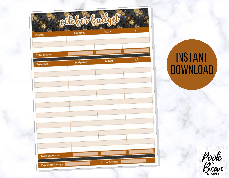 October Halloween Printable Budget Worksheet Monthly