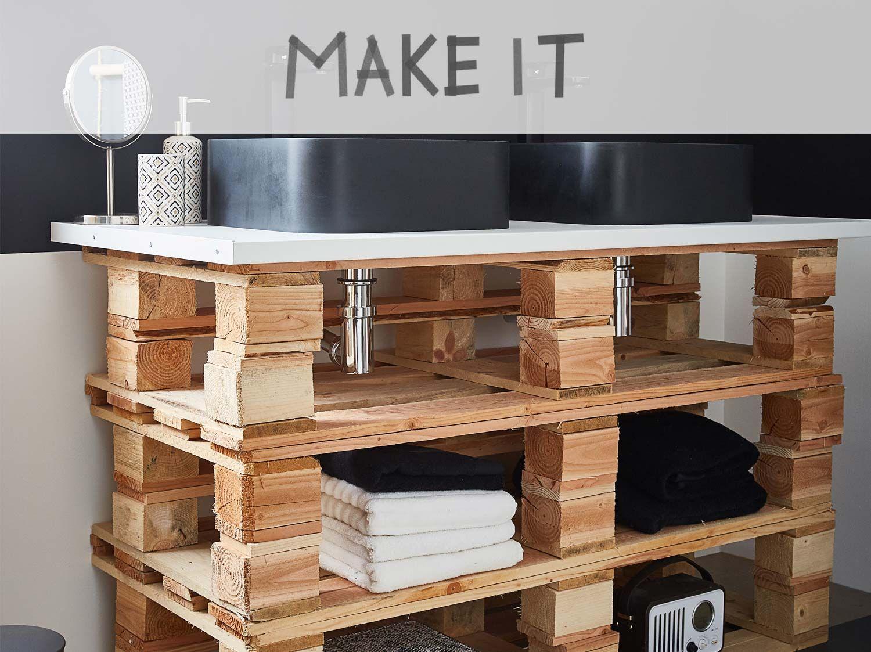 Diy Fabriquer Un Meuble Vasque Palettes Design De Salle De Bain Meuble Vasque Meuble Salle De Bain