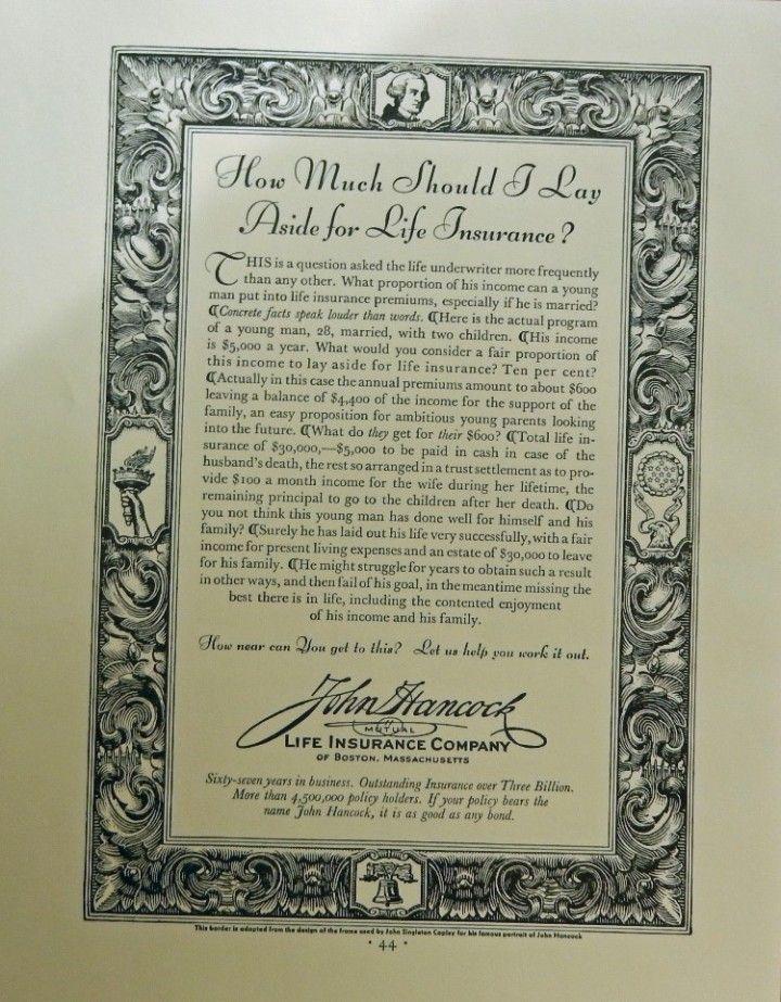 John hancock mutual life insurance company original print