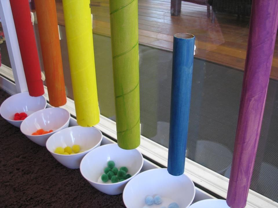 Color sorting with paper towel rolls and can use with painted noodles