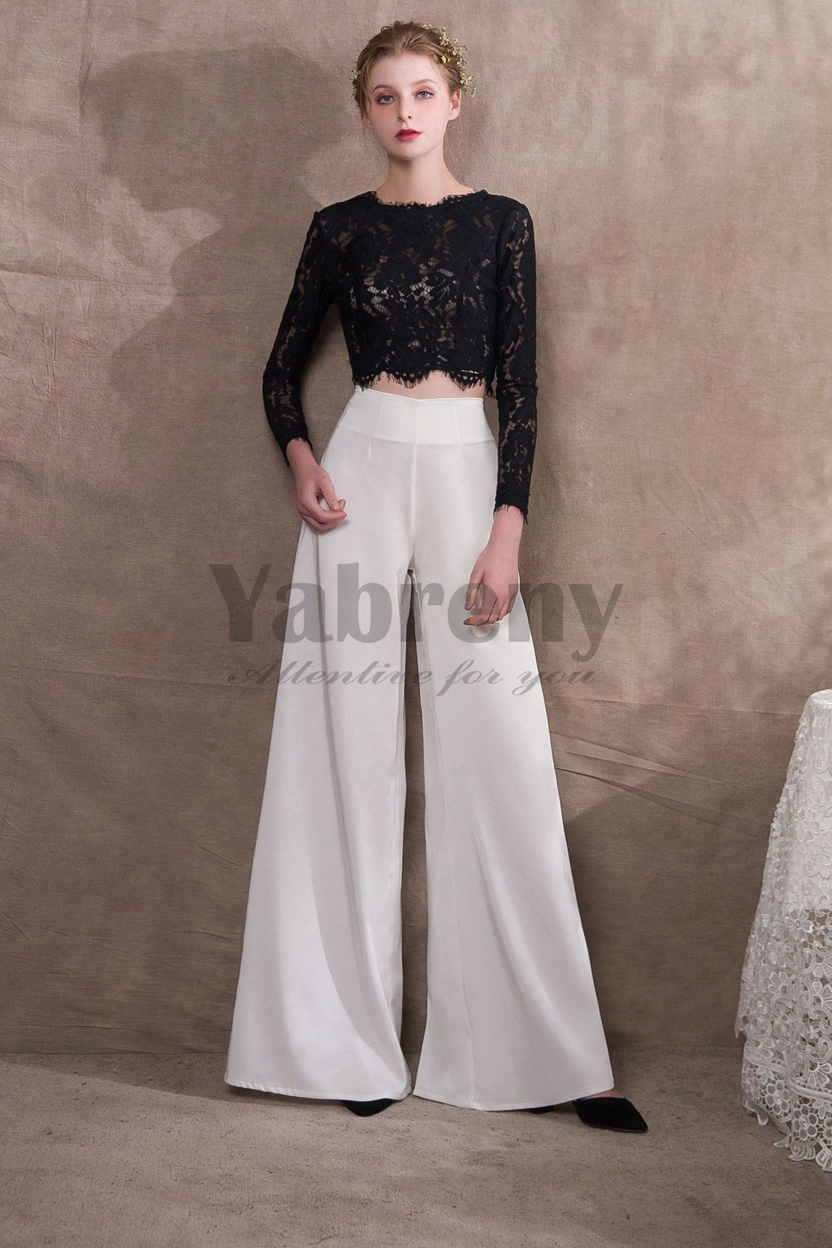 9cbdd32b8c71 Black Lace top and Chiffon Two Piece Bridal pantsuits pants so-038 ...