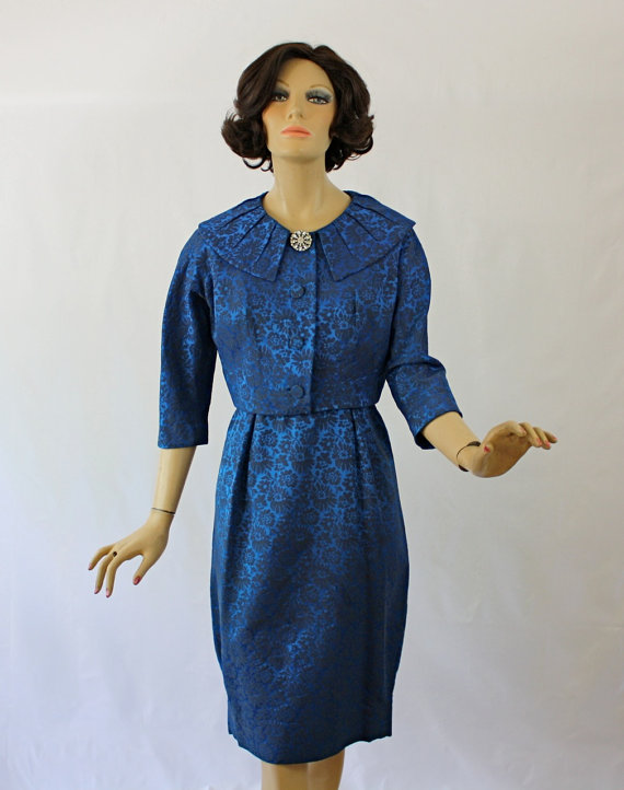 41b3c9296ba Vintage 50s Leslie Fay Dress w Short Jacket Royal Blue Brocade ...