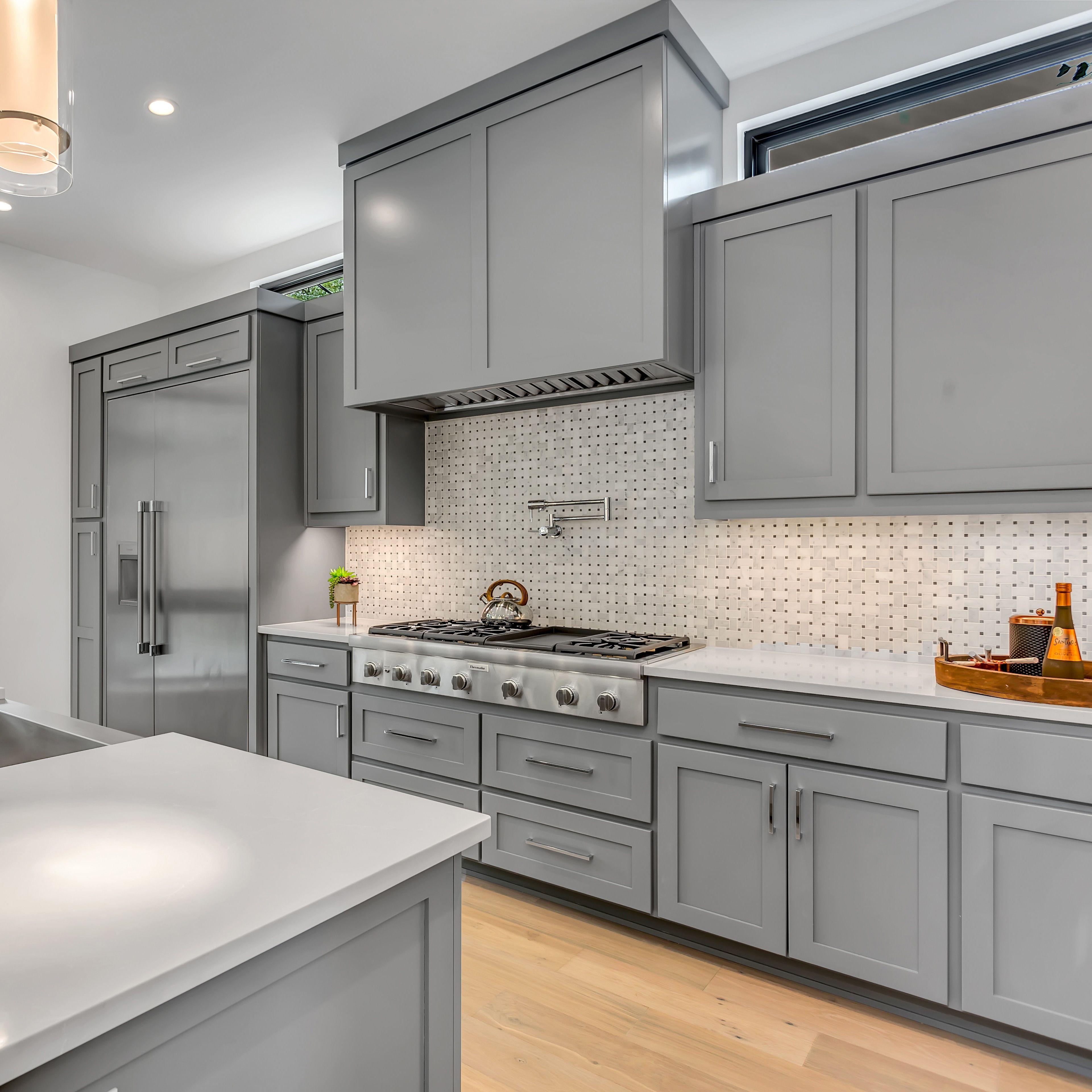 Kitchen Set Minimalis Putih Abu Abu Up To Date Roof Design Accesories