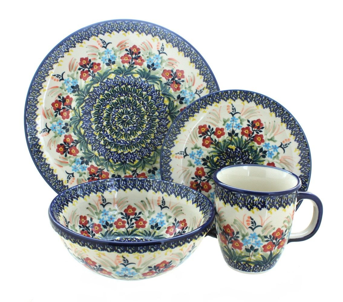 Garden Field 16 Piece Dinner Set  sc 1 st  Pinterest & Garden Field 16 Piece Dinner Set | Polish pottery Dinner sets and ...