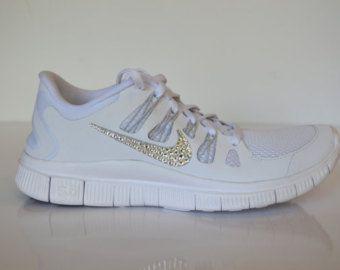 Swarovski Crystal White Nike Free Run 5.0+  c5191e7fe