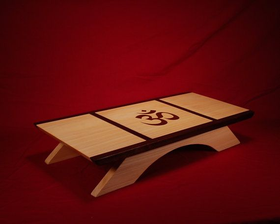Table Top Puja Table With Black Walnut Inlay And OM Symbol   #Meditation  Shrine