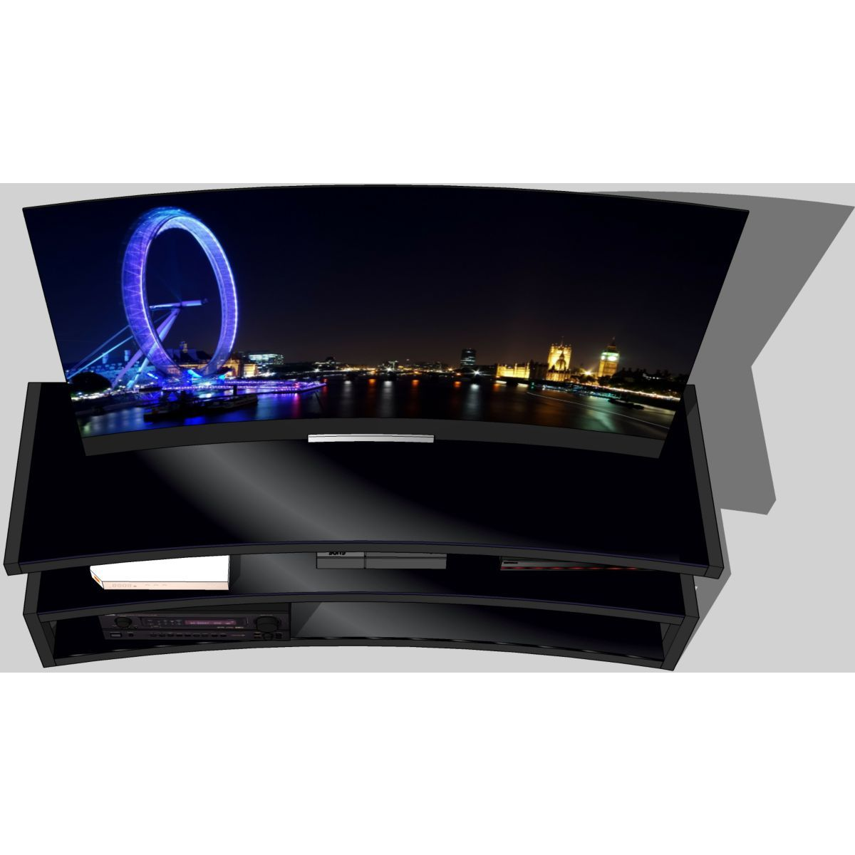 Meuble Tv Esse Curve Noir Laque Noir 1 5m 32 60p Taille Taille