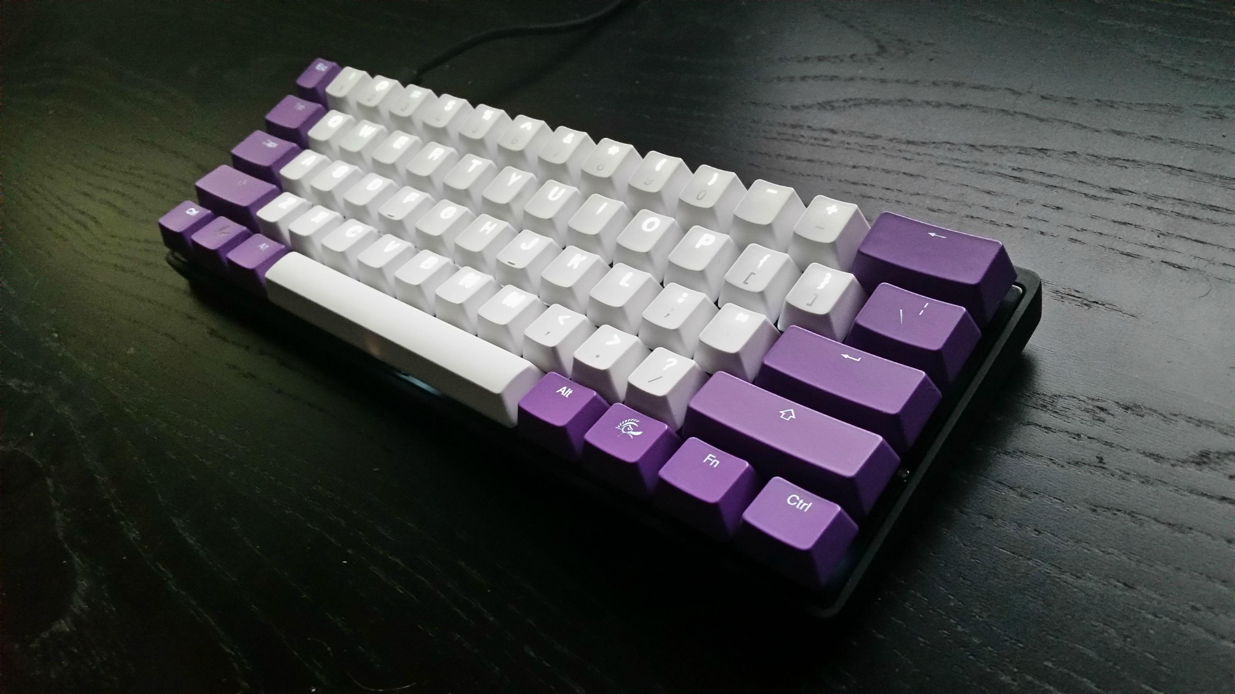 Ducky purple backlit and probably Vortex/KBT PBT+POM on