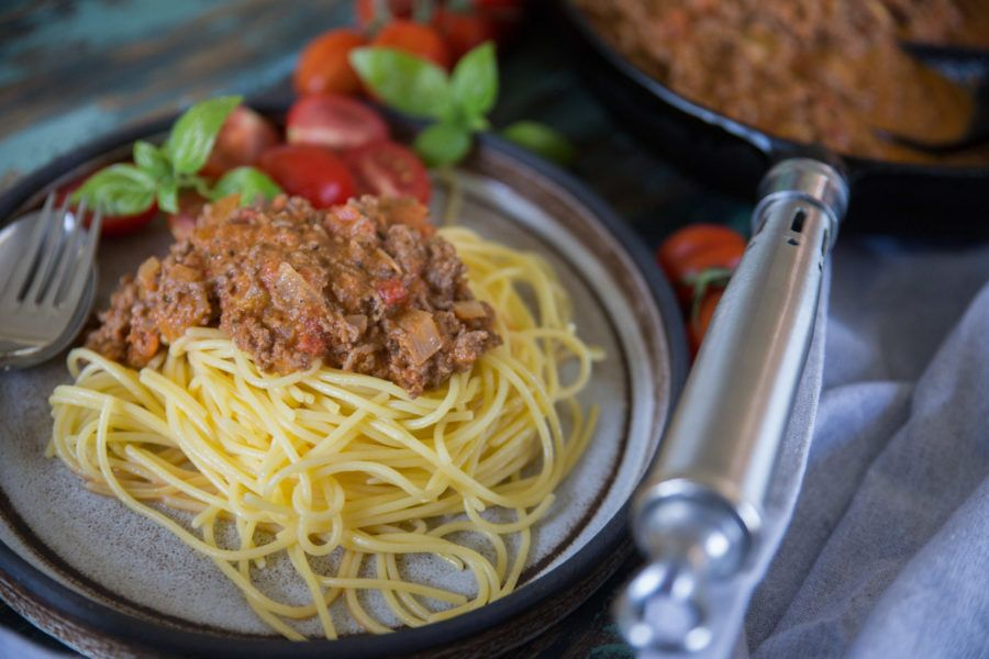 pasta med köttfärs och grädde
