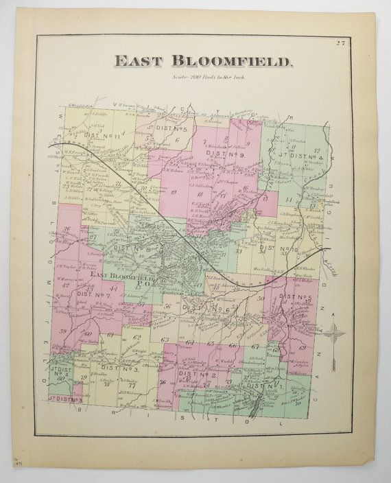 East Bloomfield NY Map 1874 Original Antique Map, Ontario ...